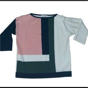 Vintage St John color block crew neck sweater